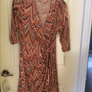 Shelby & Palmer orange print tied waist dress